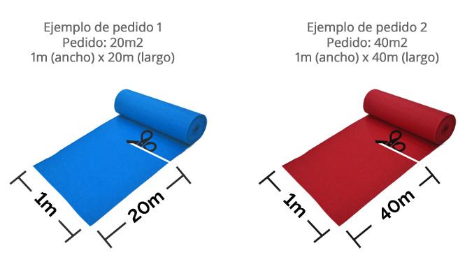 Ejemplo de pedido de Moqueta ferial azul ducados al corte por metros