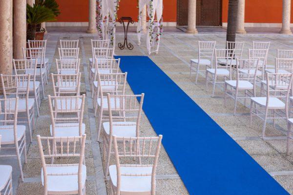 Moqueta azul para eventos y congresos