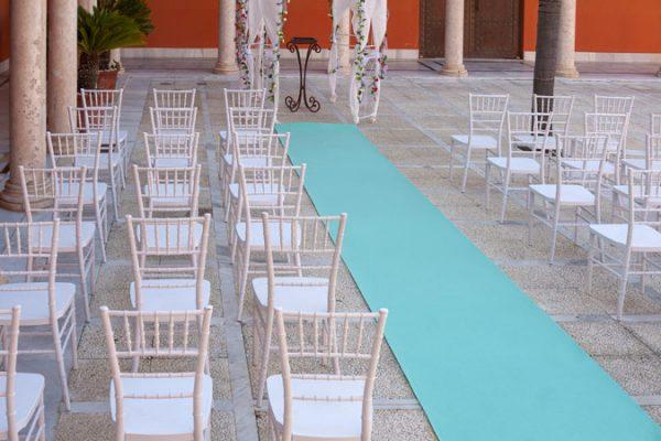 Moqueta turquesa para eventos y congresos